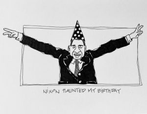Illustration of President Richard Nixon in a polka dot birthday hat